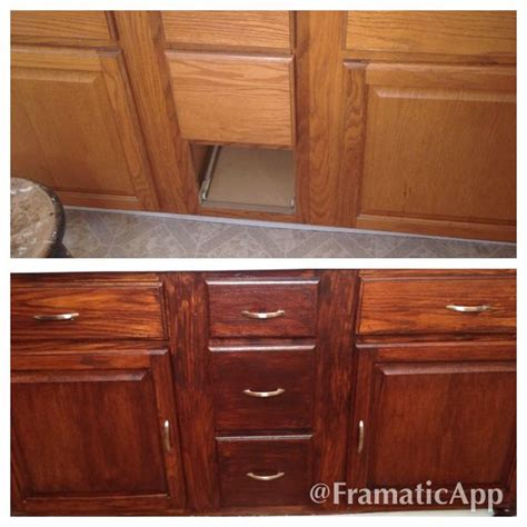 builder grade oak kitchen cabinets 1000 images about stained cabinets on