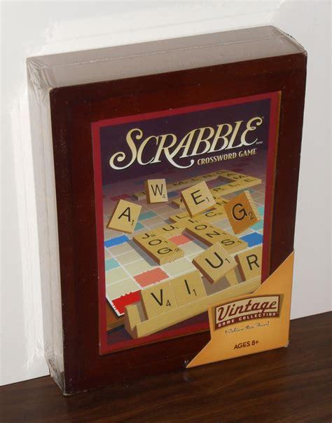 scrabble wooden box scrabble crossword vintage collection 01336 wooden