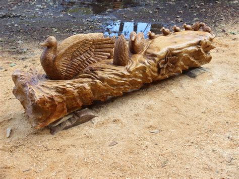 Wood For Bench Chainsaw Carving Duck Duckling Bench