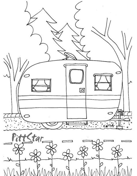 preschool vacation coloring pages instant download vintage travel trailer printable