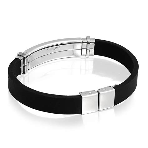Mens Black Rubber Stainless Steel Medical Alert ID Bracelet