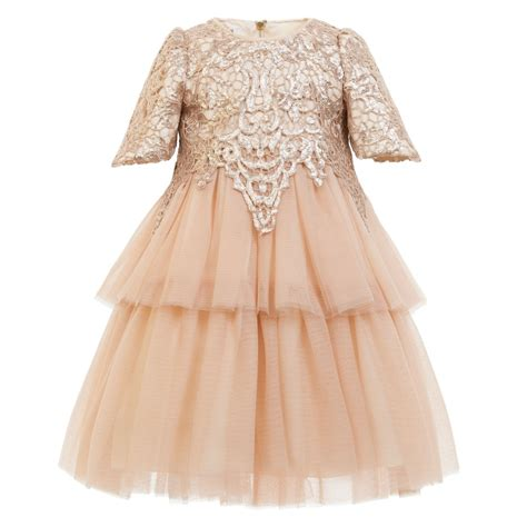 Q483 Baby Pink Birthday Tulle Dress graci pink gold sequined tulle dress childrensalon