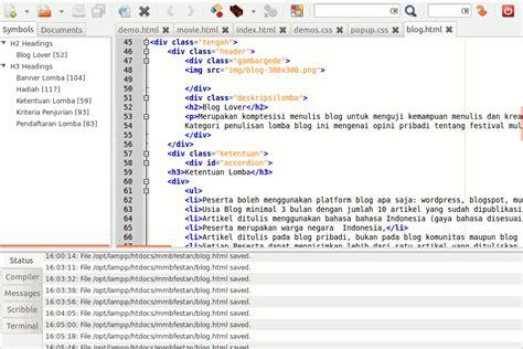 membuat website event mencoba geany untuk membuat website panduaji net