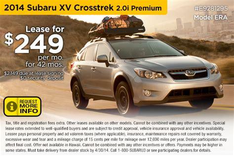 subaru crosstrek lease deals new subaru xv crosstrek special lease sales offers