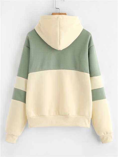 Embroidered Color Block Hoodie by Cactus Embroidered Color Block Hoodie Shein Sheinside