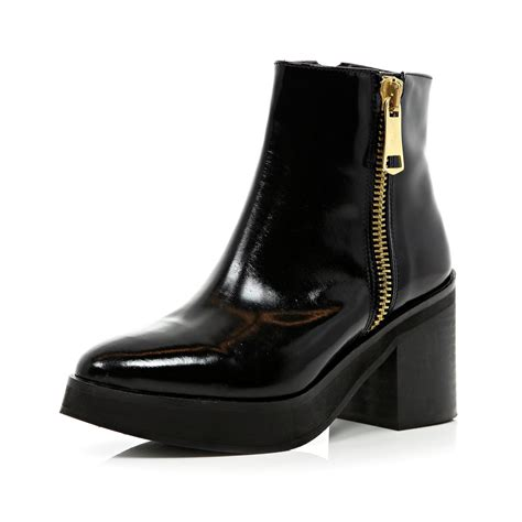 heeled pointed boots river island black block heel pointed ankle boots in black