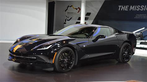 this is the black widows corvette stingray from captain 2014 black widow chevrolet corvette at the chicago auto