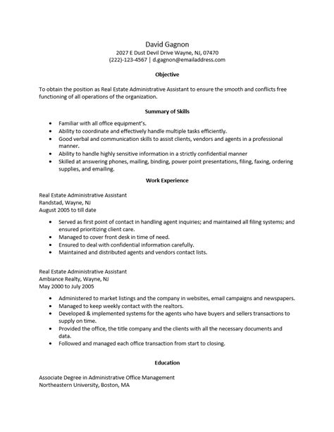 free real estate administrative assistant resume template