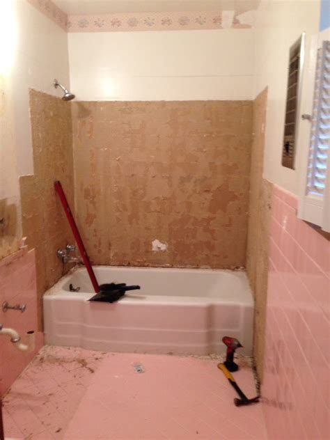 diy bathtub removal how do i remove the adhesive from 1950 s pink wall tiles