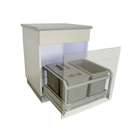 poubelle de cuisine tri s駘ectif 3 bacs poubelle coulissante 45 litres grise
