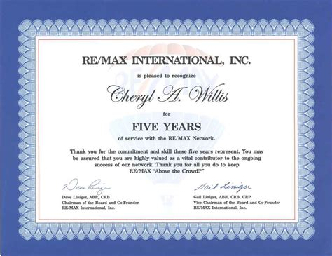 service anniversary certificate templates happy anniversary to me the mo broker re max solutions