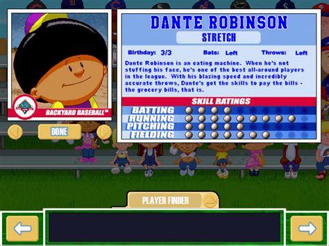 dante robinson backyard baseball viva la vita backyard baseball 2001 draft sixth round
