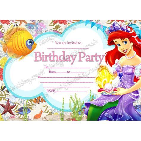 printable disney invitation cards printable disney princess ariel little mermaid birthday
