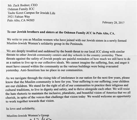 Islamic Credit Letter the wonderful muslim response to our palo alto jcc s bomb
