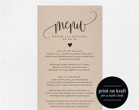 menu card template pdf best 25 rustic wedding menu ideas on wedding