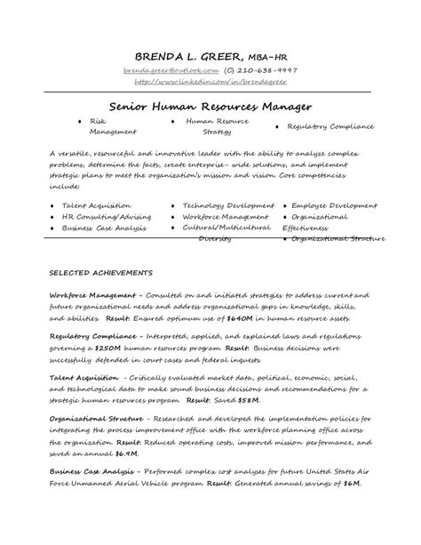 Mba Hr Outlook by Greer Resume Humanresources