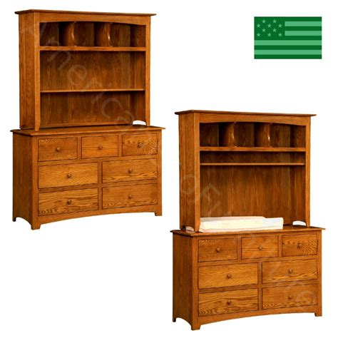 Baby Hutch amish monterey 7 drawer dresser baby changer with hutch top solid wood made in usa