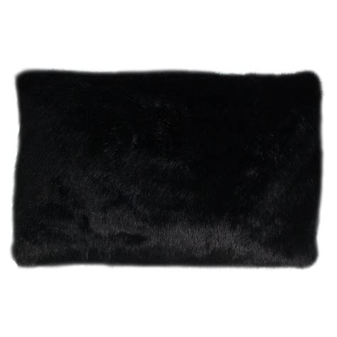 Black Pillow by Fur Lumbar Pillow Black Formdecor