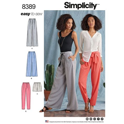 sewing pattern ladies trousers womens trousers with length and width variations and tie
