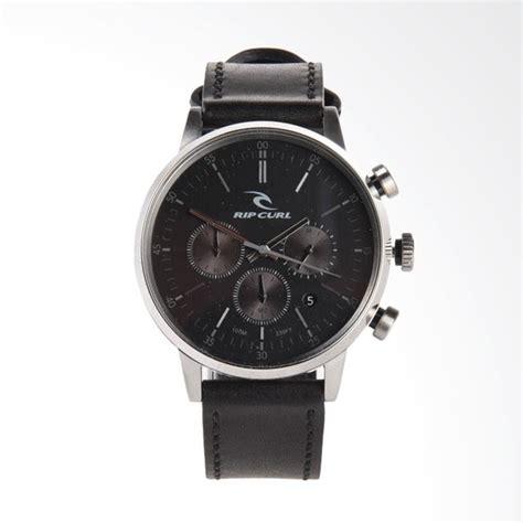 Jam Tangan Pria Ripcurl Black jual rip curl chrono leather jam tangan pria black