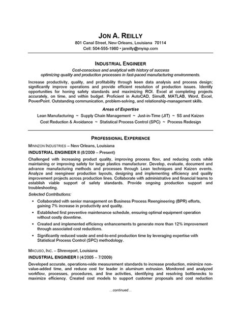 resume exle industrial engineering careerperfect