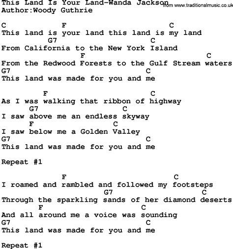 printable lyrics this land is your land country music this land is your land wanda jackson lyrics