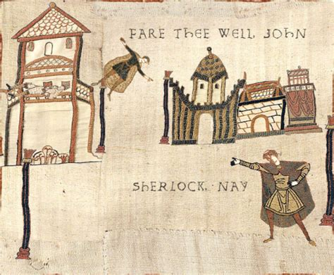 Medieval Tapestry Meme - sherlock tapestry reichenbach i am a terrible person