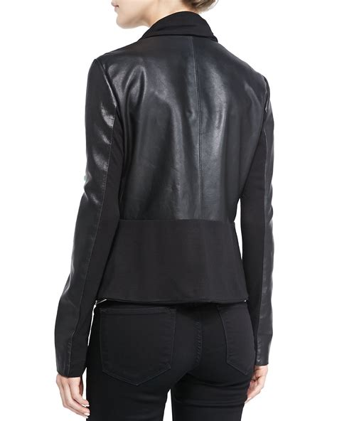 drape front jacket bagatelle ruffled front drape mixed media leather jacket