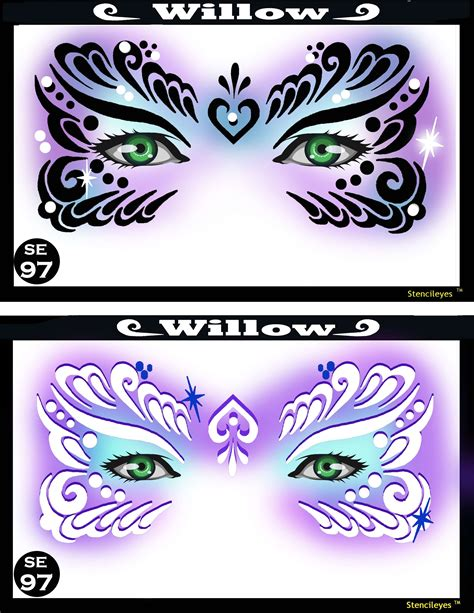 willow mardi gras face painting stencil