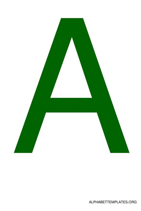 large alphabet templates in color green alphabet
