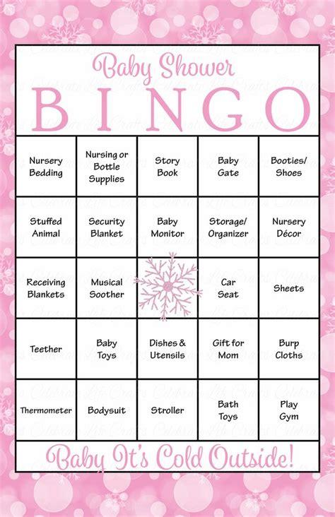 template for baby shower bingo game winter baby bingo cards printable download prefilled