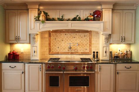 Tuscan Canisters Kitchen 48 wolf gas range with hood mantle and back splash with