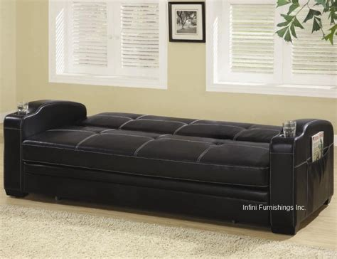 Modern Black Adjustable Sofa Bed Futon Couch Faux Leather