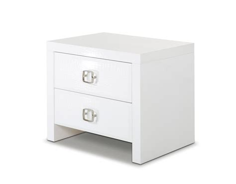 White Nightstand glam modern white crocodile nightstand