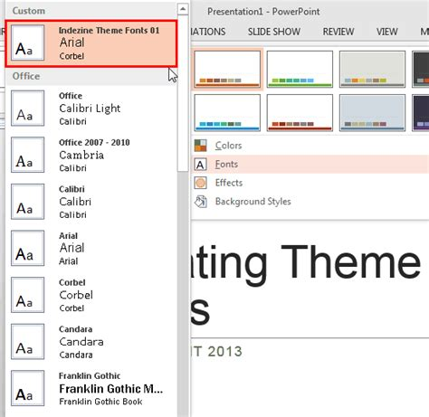 theme fonts list create your own theme fonts set in powerpoint 2013 for windows