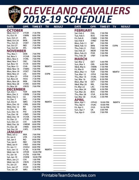 Cavs Printable Schedule 2018