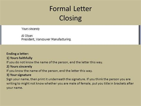 Letter Ending Formal formal letter ppt