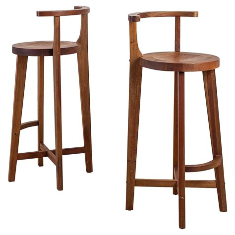 Wooden Bar Stool With Back Pair Studio Crafted Wooden Bar Stools With Rounded Back Rests For Sale At 1stdibs