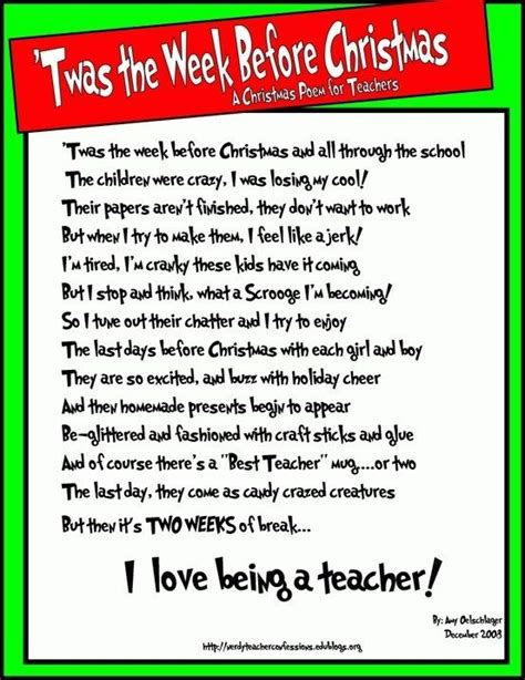 twas  week  christmas  christmas poem  teachers     laugh