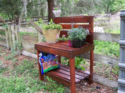 potting bench made from pallets pallet wood potting bench plans recycled things