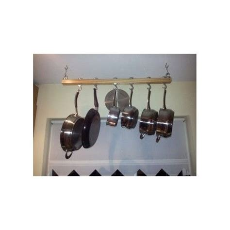 Pot And Pan Ceiling Holder Mount Rack Pot Kitchen Storage Ceiling Hanger Wooden Pan