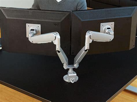 dual monitor corner workrite ergonomics adjustable monitor mounts