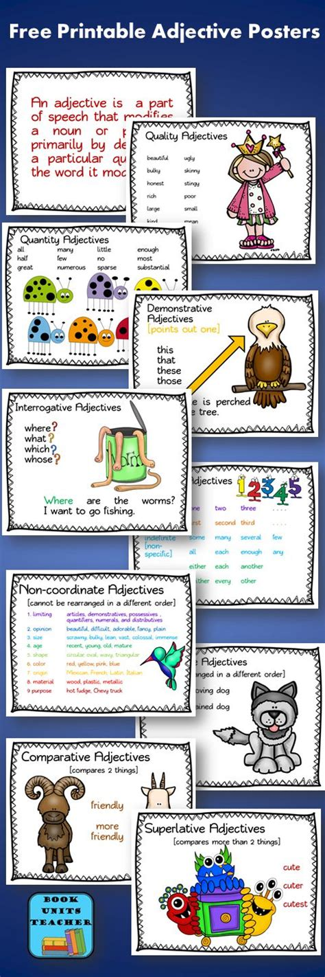 free printable adjective poster teaching parts of speech and free printable on pinterest