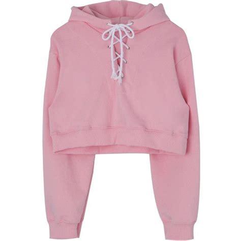 Crop Hodie Pink lace up front cropped hoodie found on polyvore featuring tops hoodies sweatshirt hoodies pink