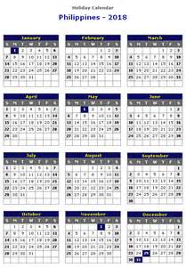 Calendar 2018 Philippines Printable Philippines 2018 Printable Calendar 171 Printable Hub