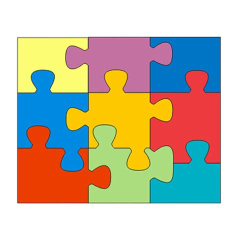 Puzzle Template 9 Pieces by Puzzle Outline 9 Pieces Clipart Best