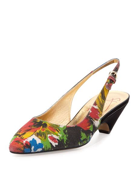 Buckled Patent Low Heel Shoes walter steiger akon floral print slingback low heel