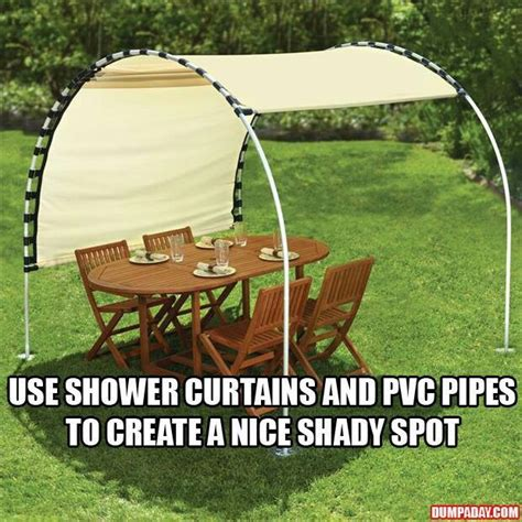 diy backyard shade shower curtains and pvc pipe make shade totally cool
