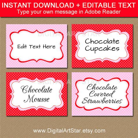 Editable Valentines Card Templates Free by S Day Food Labels Printable Editable Pink
