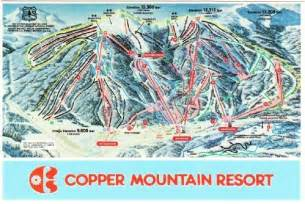 copper mountain ski resort co trail map 1990s postcard
